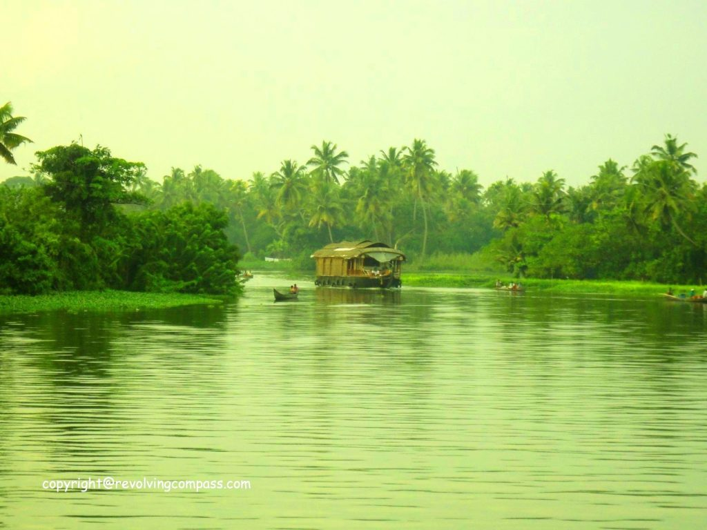 Kerala backwaters in monsoon